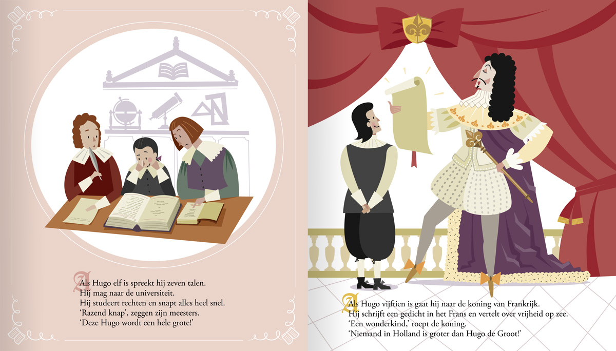 children's book illustration of Hugo Grotius (Hugo de Groot) as a young law student and meeting French king Louis XIII