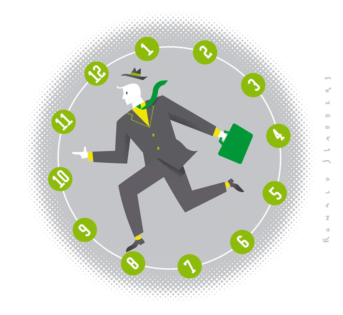 redactionele conceptuele illustratie, zakenman met koffertje rent, holt, gevangen in een tredmolen in de vorm van een klok