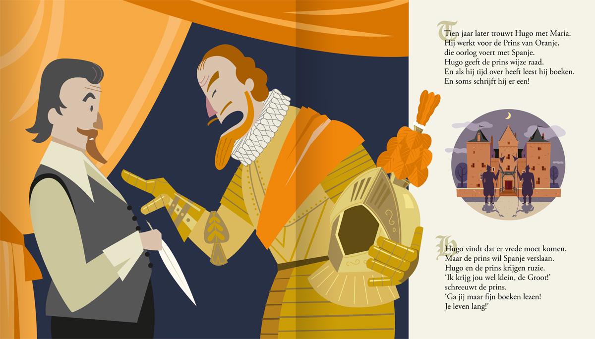 Kinderboek, prentenboek, illustraties van Hugo de groot. Hugo de Groot en de ruzie met Maurits van Nassau, Prins van Oranje