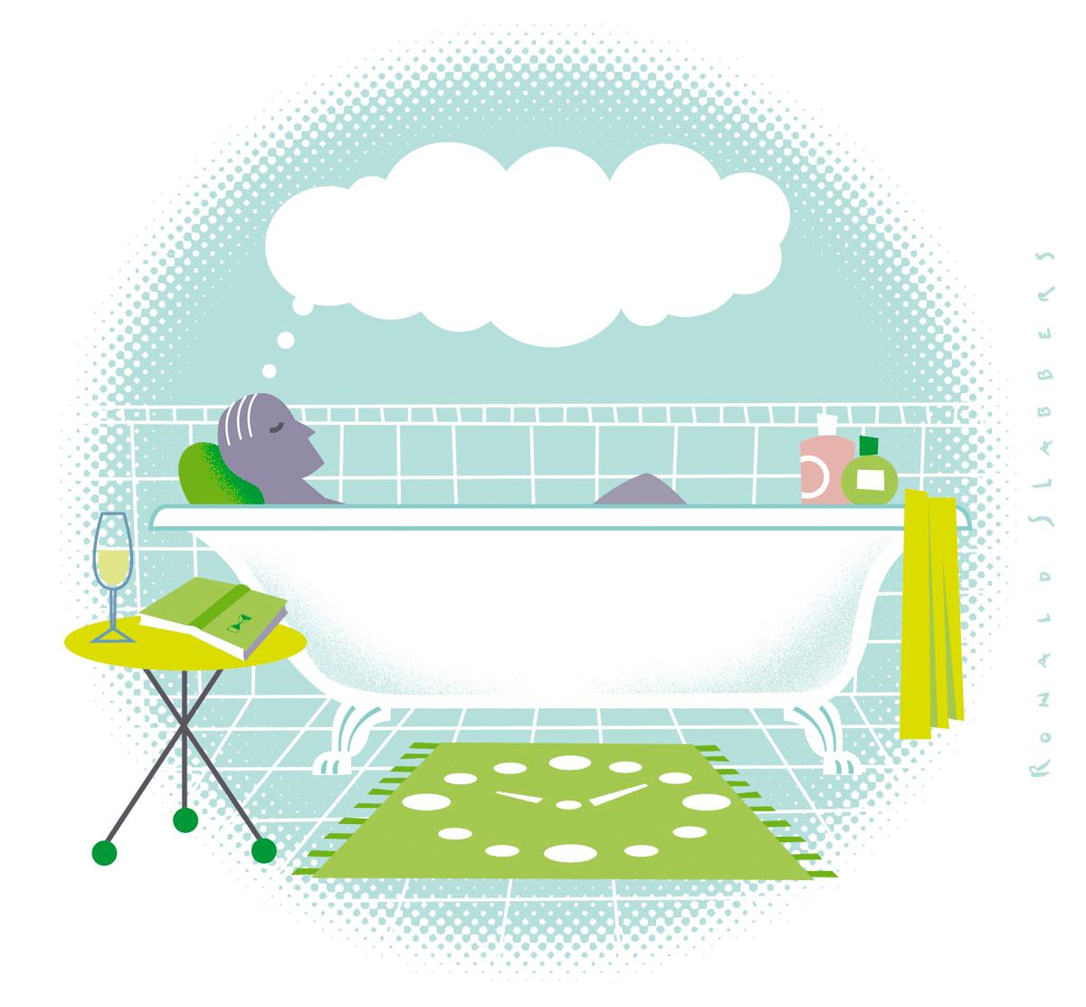 Illustratie van een man ontspannend in een badkuip, denkend aan niets
