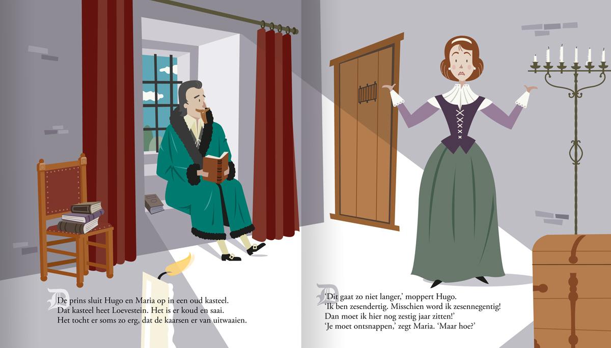 Historische kinderboek illustratie van Hugo de groot en zijn vrouw Maria. Opgesloten in kasteel Loevestein