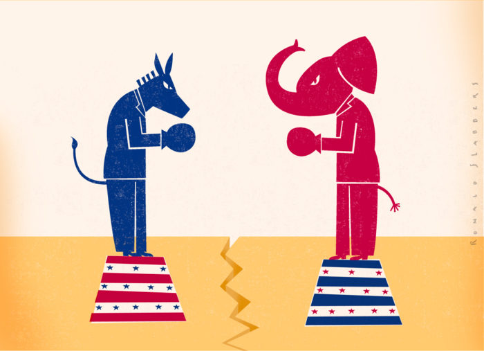 Illustrations about the American elections, US, USA, red vs blue, blue donkey, red elephant, president, congress, candidates