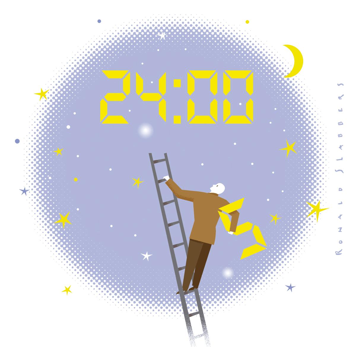 illustration van een man op een ladder en een klok hoog in de lucht, tijd tekort komen