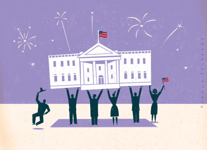 Illustrations about the American elections, US, USA, red vs blue, president, congress, candidates, the white house