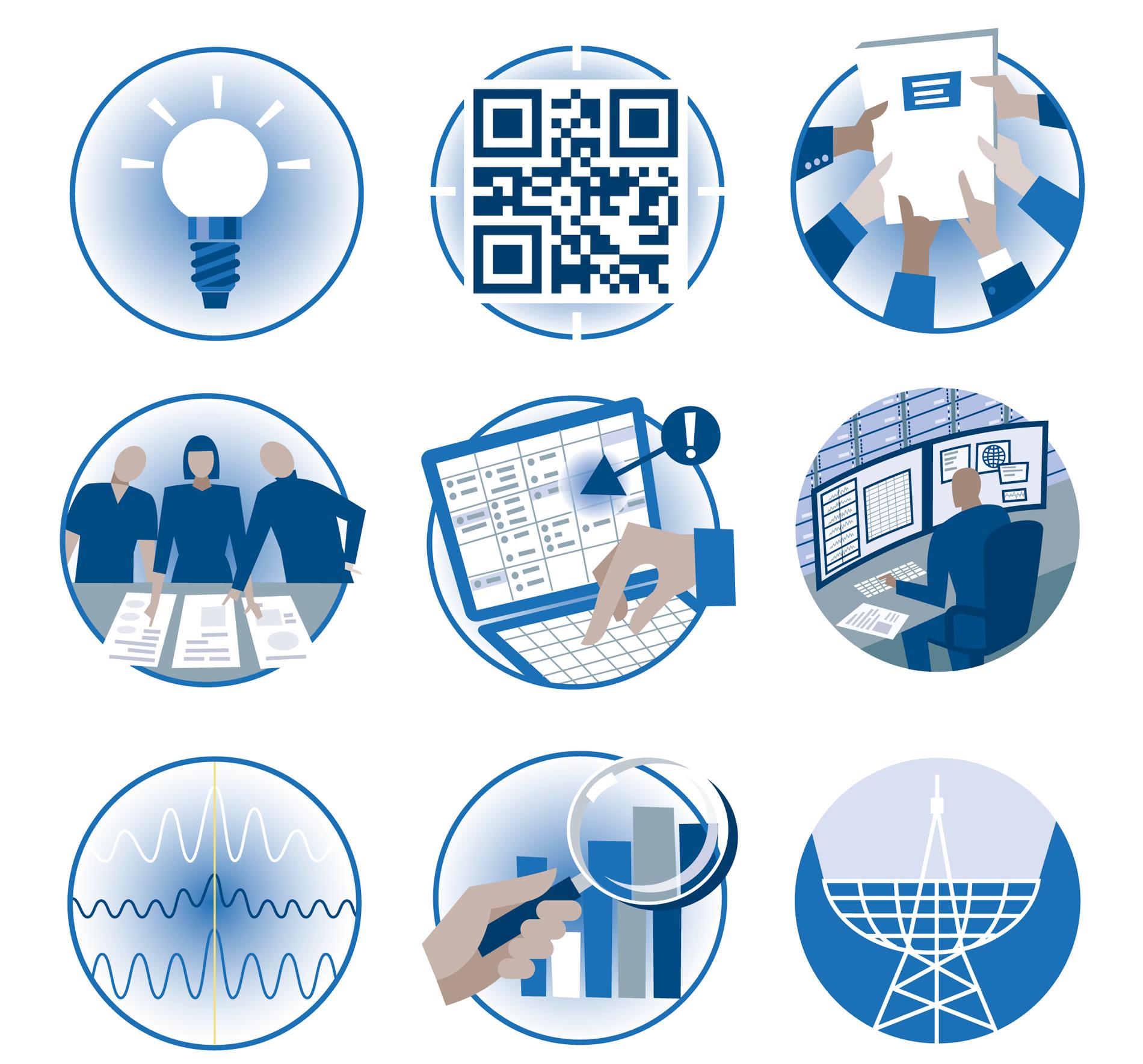pictogrammen voor een brochure voor astronomen met behulp van radiotelescoop gegevens
