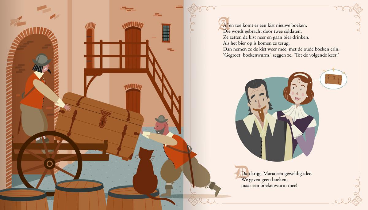 Kinderboek, prentenboek, illustraties van Hugo de groot en zijn vrouw opgesloten in kasteel Loevestein. Illustratie, De boekenkist kist van Hugo de Groot