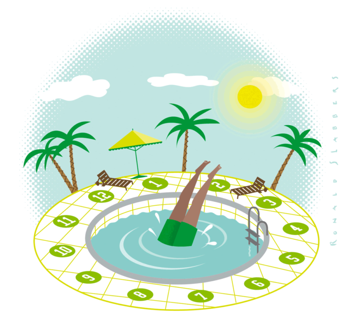 illustration of man jumping into clock shape pool