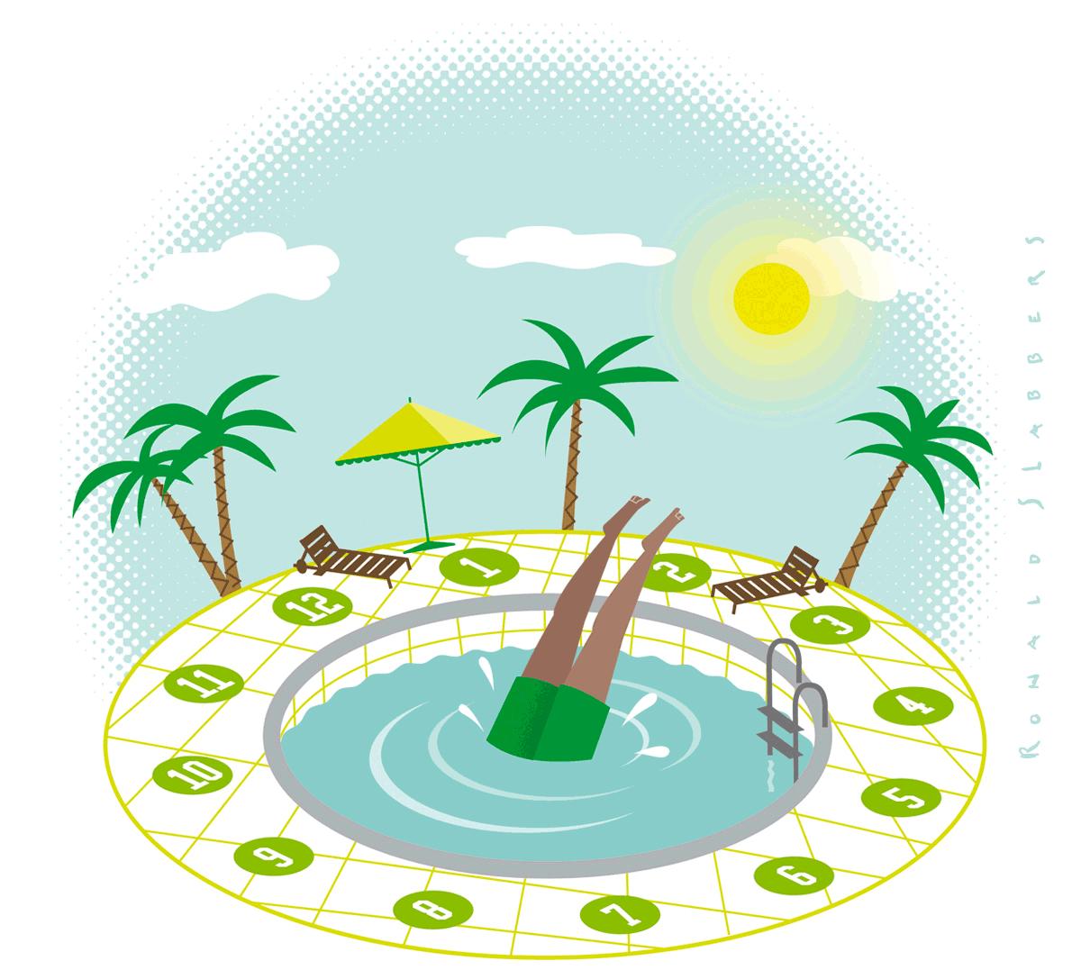 Illustratie van een man in zwembroek, de man springt in een zwembad in de vorm van een zwembad. Palmen en zon op de achtergrond