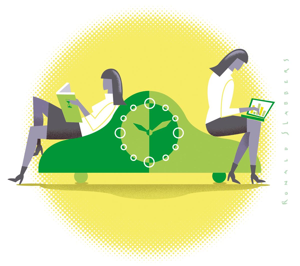 illustratie, zakenvrouwen zittend op vintage klok. De ene vrouw leest ontspannen een boek, de andere vrouw werkt op een laptop.