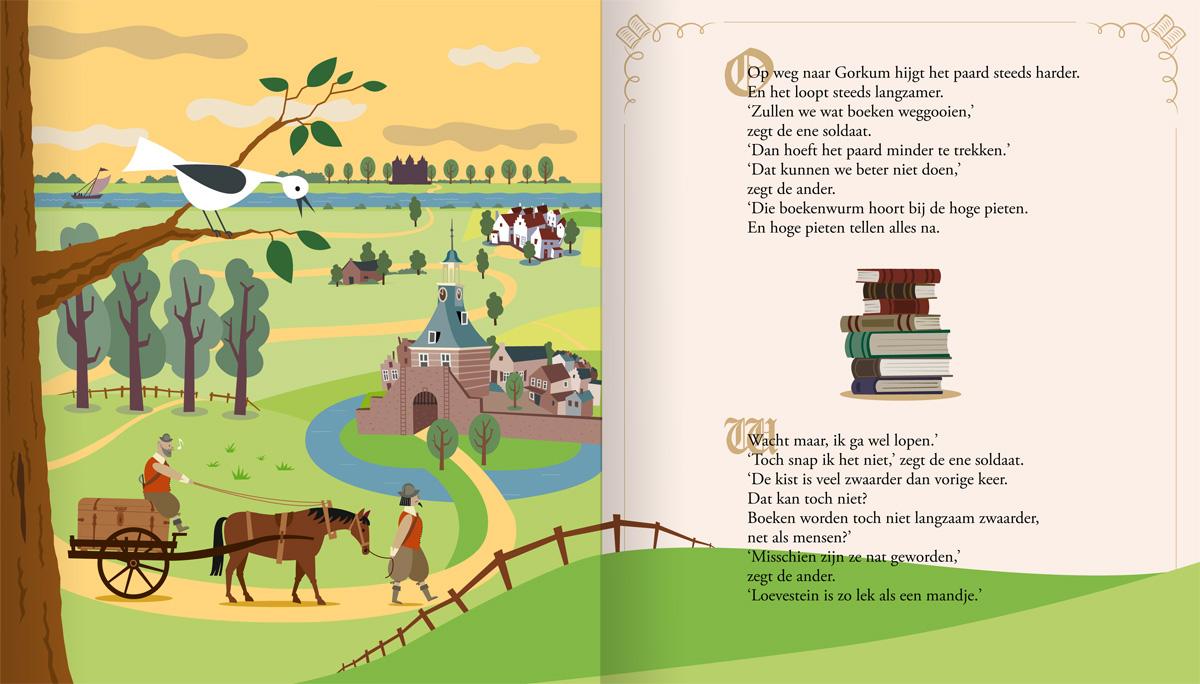 Kinderboek, prentenboek, illustraties van Hugo de Groot, de boekenkist en Gorkum