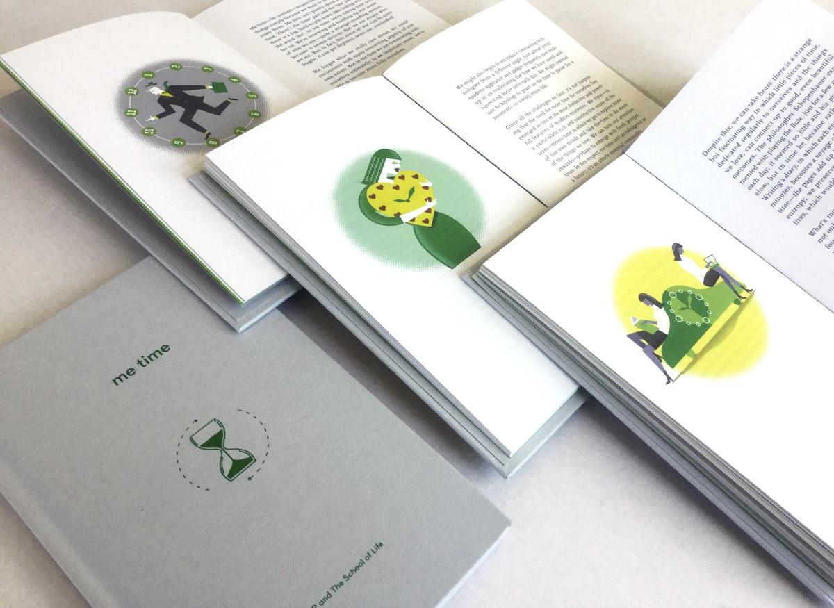 redactionele Illustraties voor een boek over tijd, klokken, tijd voor jezelf