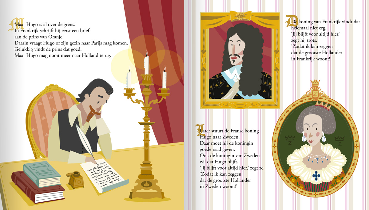 children's book illustration about Hugo Grotiuswho meets king Louis XIII of France and the queen of Sweden