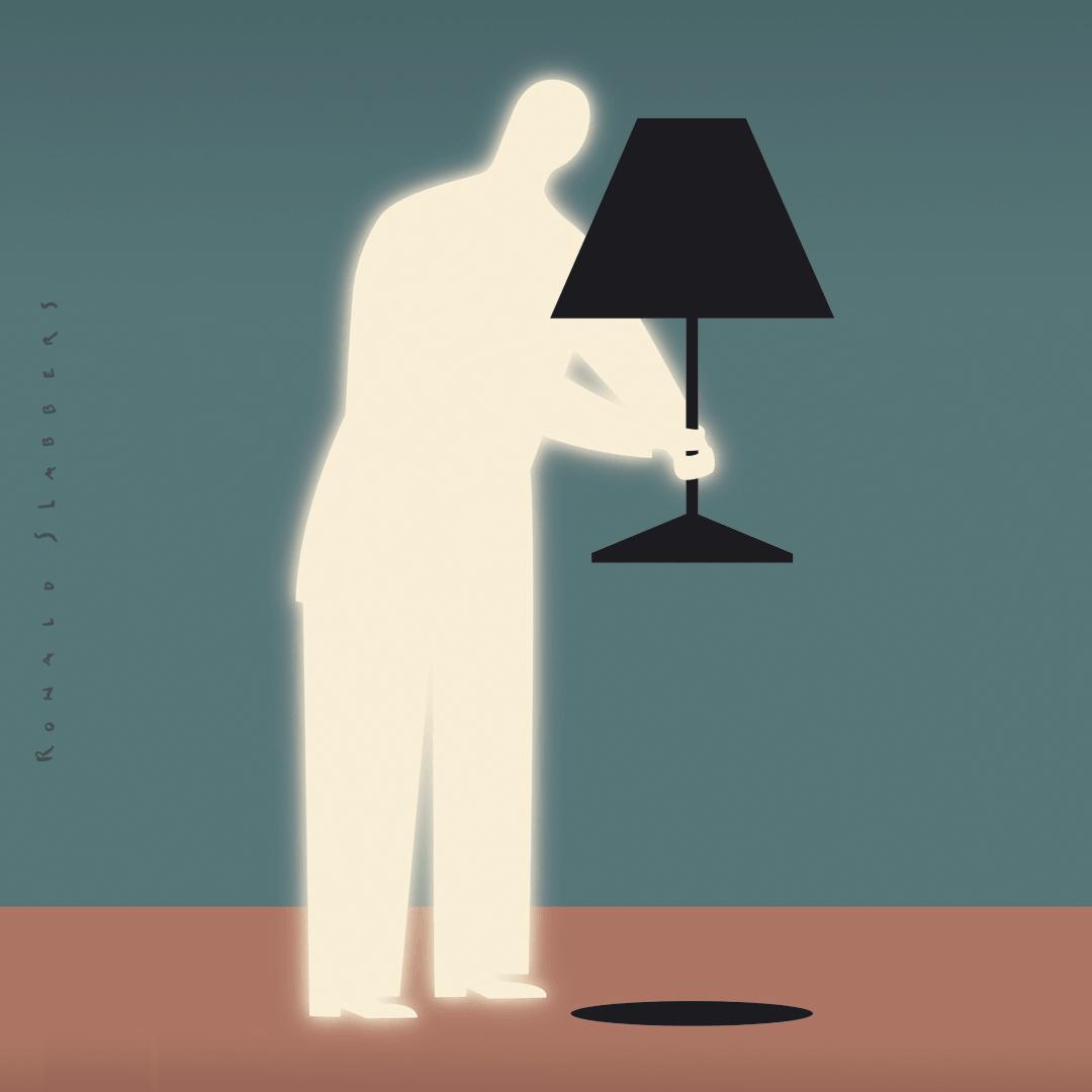 donker en licht, illustratie van een man met lamp. De man straalt het licht uit, de lamp is donker