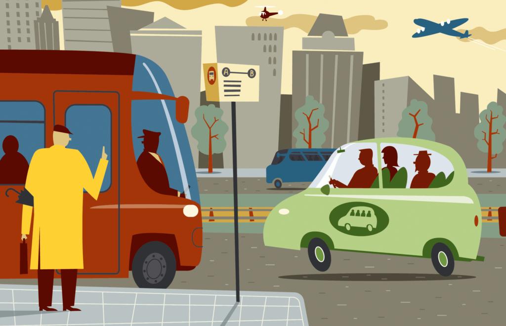 Redactionele Illustraties over mobiliteit, eigentijdse en alternatieve manieren van reizen, reizen per openbaar vervoer, per bus, per vliegtuig, autodelen, stadsverkeer, kantoorgebouwen