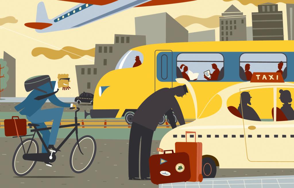 Redactionele Illustraties over mobiliteit, eigentijdse en alternatieve manieren van reizen, reizen per openbaar vervoer, per trein, per vliegtuig, per fiets, per taxi, stadsverkeer, kantoorgebouwen
