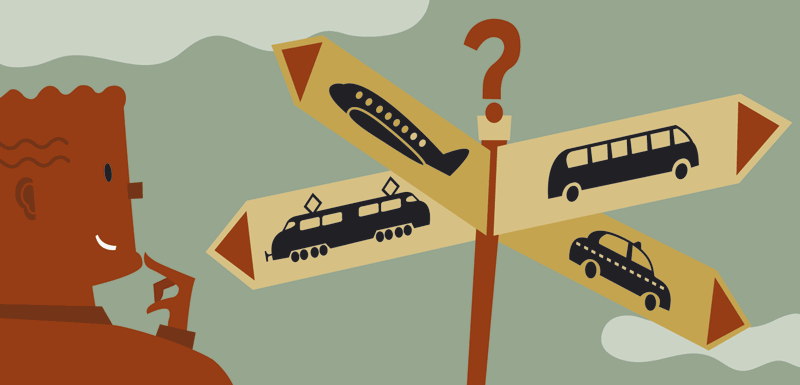 illustration of deciding how to travel: by bus, airplane, train, taxi