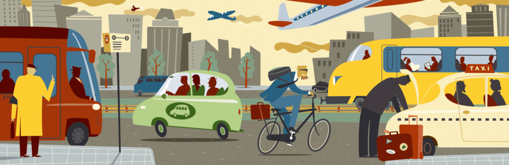 Editorial illustration on travelling by car, bike, train, airplane, taxi, public transport, bus