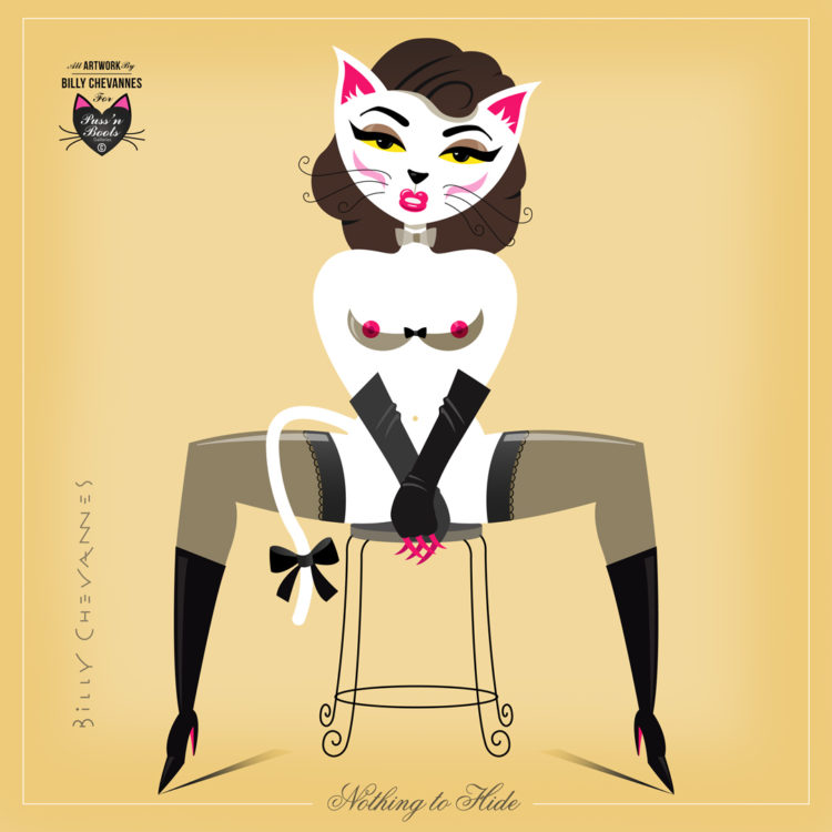 pin-up illustratie, gelaarsde kat pin-up, puss in boots, puss'n boots, cat woman pin up. Poezen pin-up, Nothing to hide