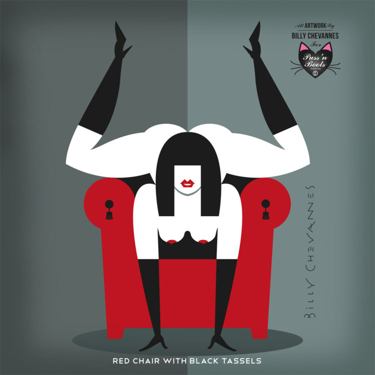 naughty pin-up illustration of a naked woman with black boots and long gloves in a red chair, the woman is in a sex position on the back of a red chair