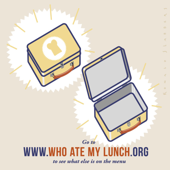 illustration, who ate my luch. illustration of an empty lunchbox
