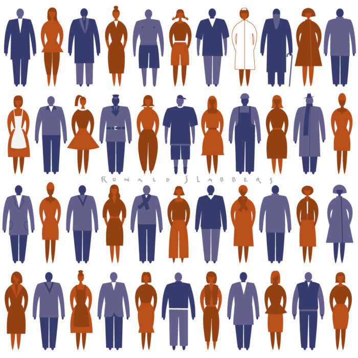 pictogram llustration of all kinds of people, men and women, lots of people, stylised people, stilized people
