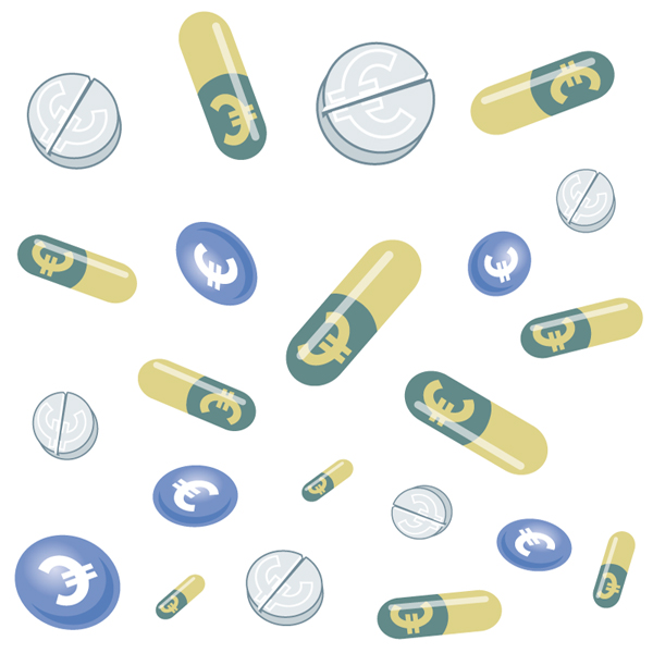 illustration of expensive medication, eurosigns on pills