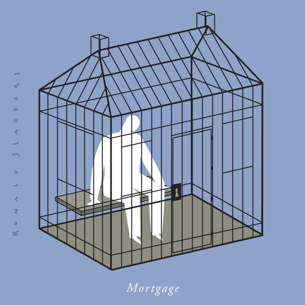 Mortgage, conceptual illustration of a man behind bars in a jail cell in the shape of a house, financial crisis, burden