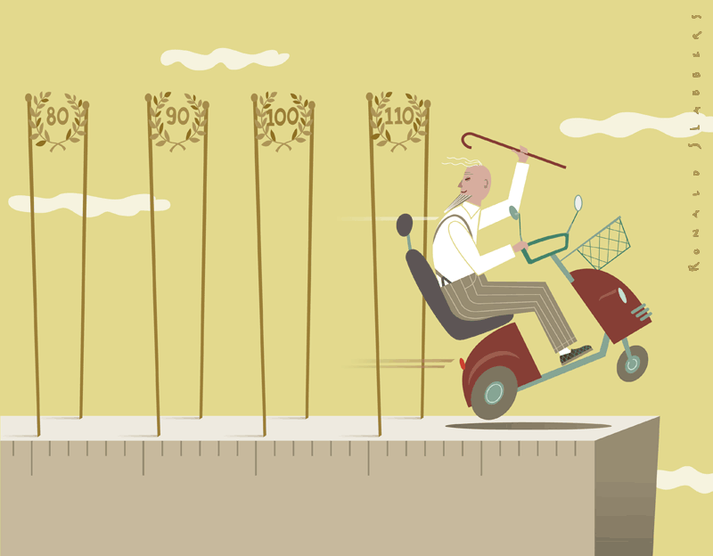 Editorial illustrations on people getting older. At higher costs, pension, medication, elderly people, life expectancy, old man on mobility scooter breaking life expectancy records. how old do people get.