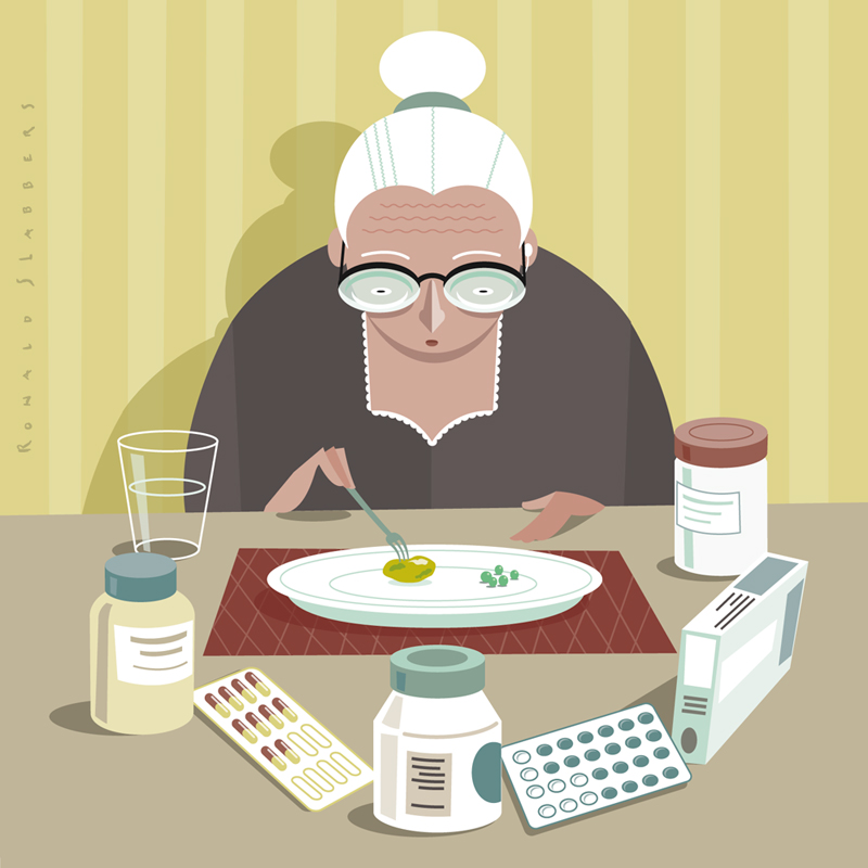 Editorial conceptual  illustrations on people getting older. At higher costs, pension, medication, elderly people, healthcare. A elderly woman having a small diner, surrounded by medicines