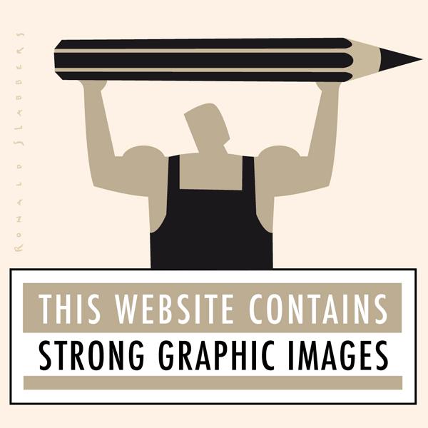 pictogram illustratie van een sterke man die een potlood boven zijn hoofd tilt. This website contains strong graphic images.