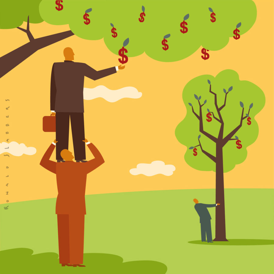 editorial illustration of businessmen trying to find money. dollars growing in trees. man standing on schouders reaching for dollar signs
