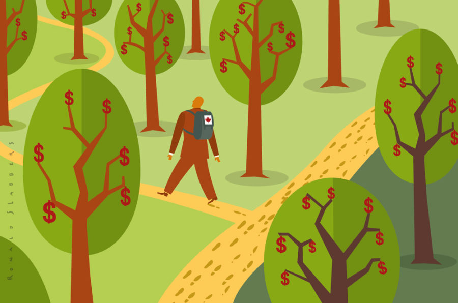 redactionele conceptuele illustraties over nieuwe manieren van fondsenwerving, geld groeit aan de bomen, zakenman op zoek naar geld, afwijken van de bewandelde paden