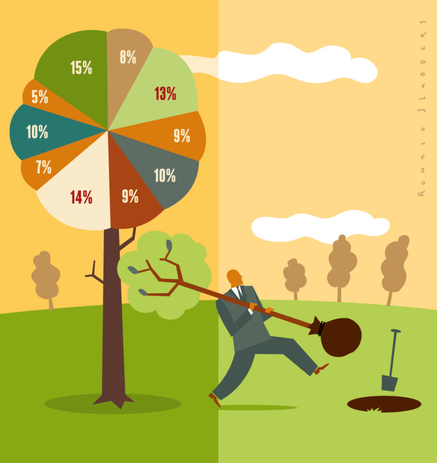 infographic illustration of a businessman and percentages