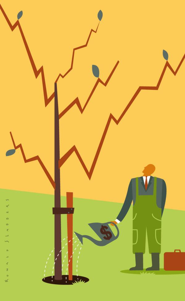 redactionele conceptuele illustratie over nieuwe manieren van fondsenwerving, een grafiek in de vorm van een boom, zakenman geeft groeiend boompje water,