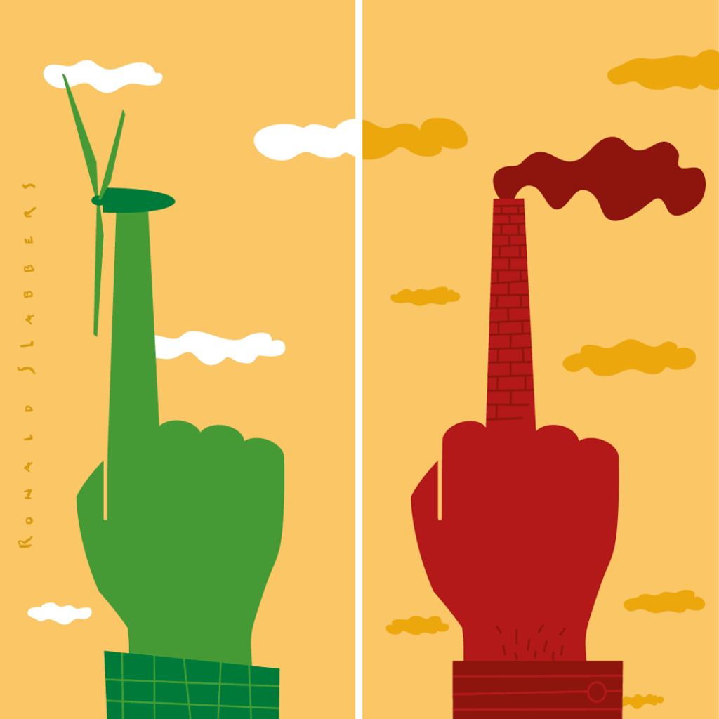 'the Value of Sustainability' Editorial Illustration, wind energy, alternative energy