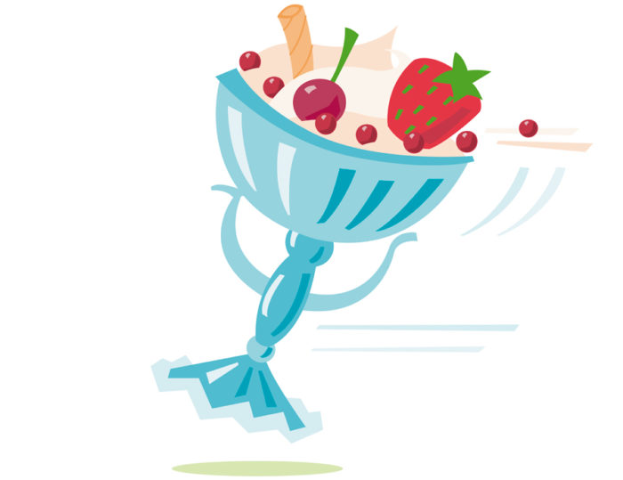 childrens cookbook Illustration, cookery book. a desert with strawberrie and cherries in a funny shaped bowl with arms