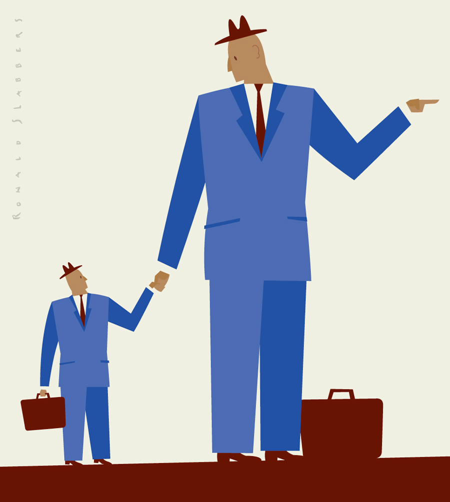 Conceptual illustration. Large and small companies cooperating, working together. Illustration of a small businessman and a big businessman holding hands. Showing the way.