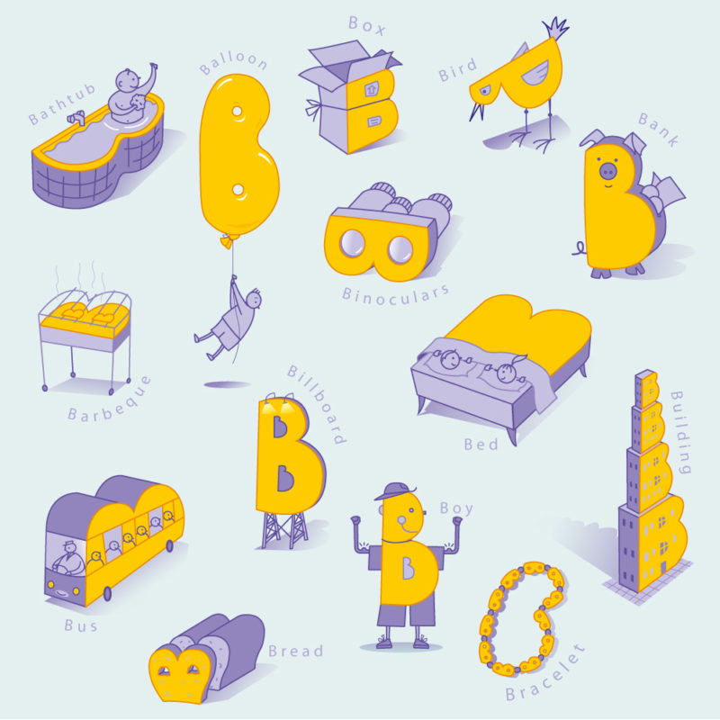 illustration page from an 'ABC' children's book. The letter B. B is for...