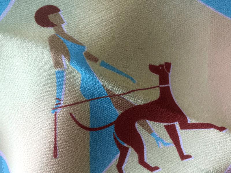 Miami silk Crêpe Georgette design, elegant lady walking the dog