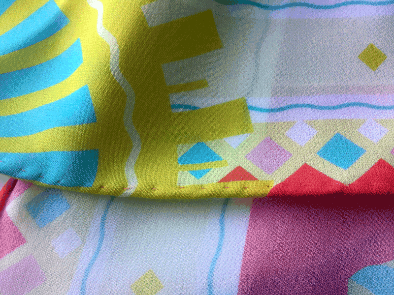silk scarf design detail 'miami' art deco colours, colors