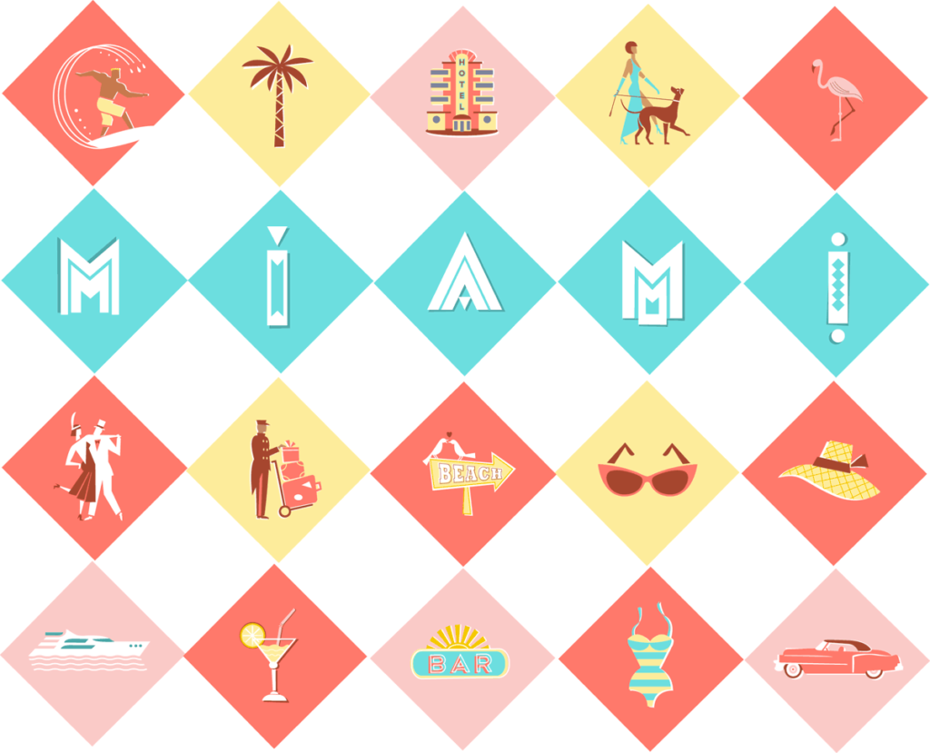 pictogram illustration silk scarf with pictograms in Art Deco colours in Miami Style, typography, flamingo, surfer, pink cadillac, elegant lady with dog