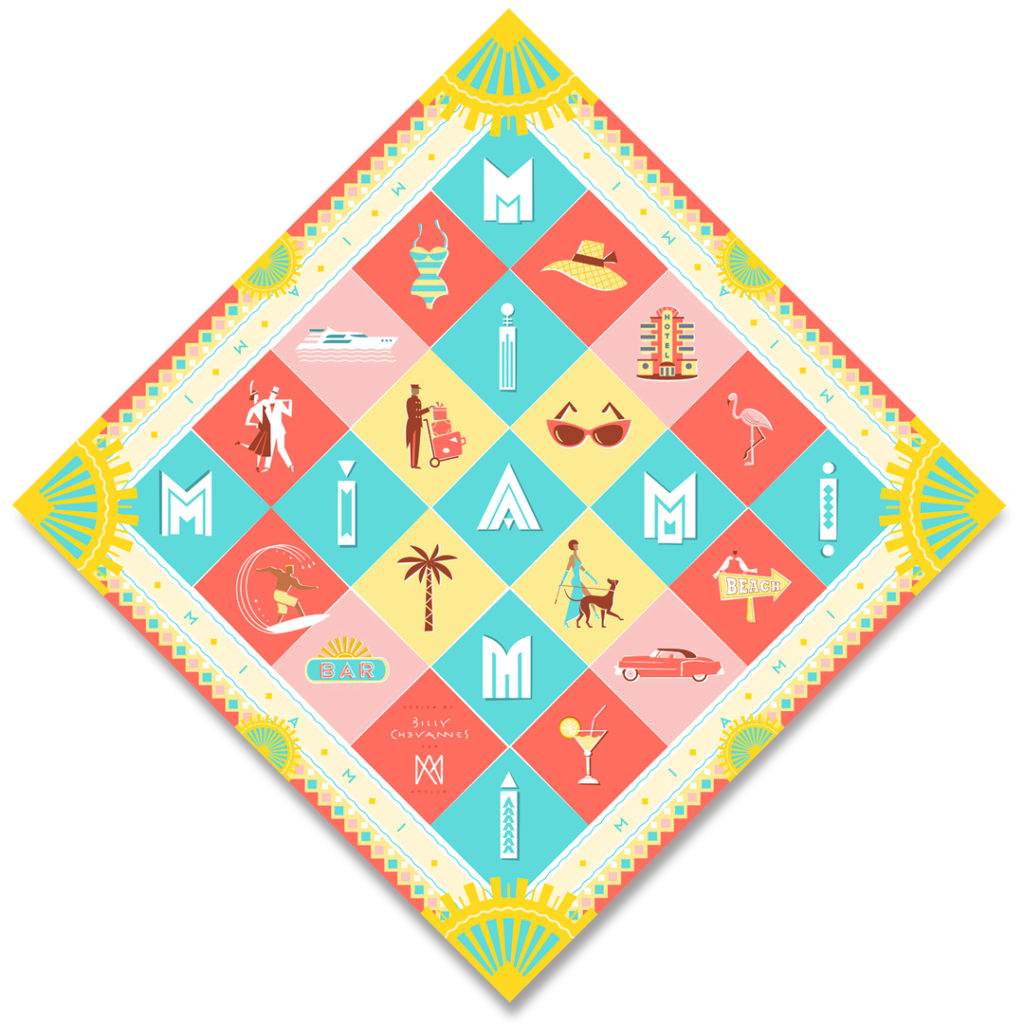 'Miami' silk scarf design. A silk scarf with pictograms in Art Deco colours in Miami Style, typography, flamingo, surfer, pink cadillac, elegant lady with dog