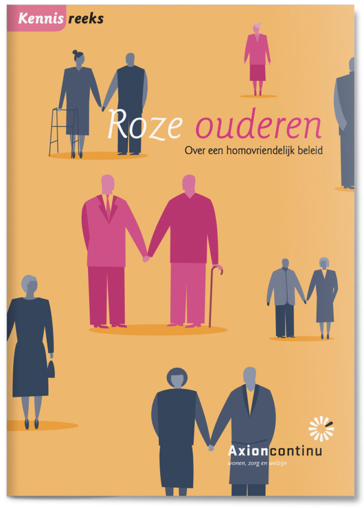 Healthcare brochure illustrations on elderly homosexuality, homosexual, gay people