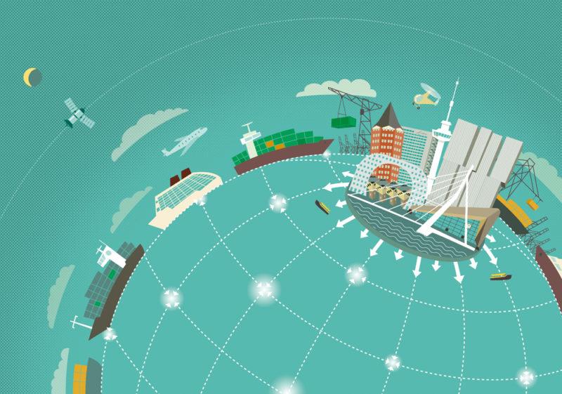 Illustratie: Rotterdam Erasmus universiteit als het economisch centrum van de wereld, havenactiviteit, containerschepen, havenkranen, beroemde Rotterdamse gebouwen, erasmusbrug, Rotterdam CS, Euromast, kubuswoningen,'de Rotterdam'