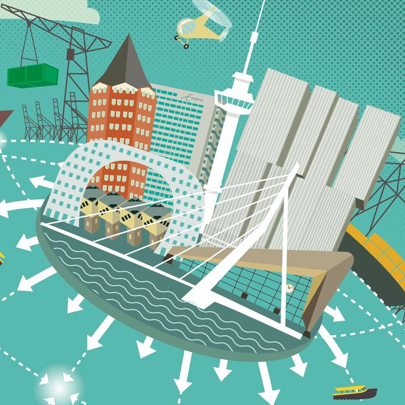 Illustratie: Rotterdam Erasmus universiteit als het economisch centrum van de wereld, havenactiviteit, containerschepen, havenkranen, beroemde Rotterdamse gebouwen, erasmusbrug, Rotterdam CS, Euromast, kubuswoningen,'de Rotterdam' ,Rotterdamse landmarks