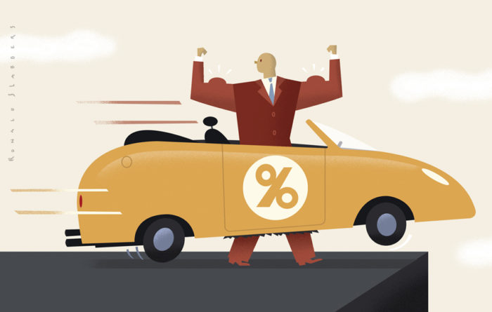editorial illustration on over consumption and debts. percentage symbol on sportscar, guy walking towards the financial depth