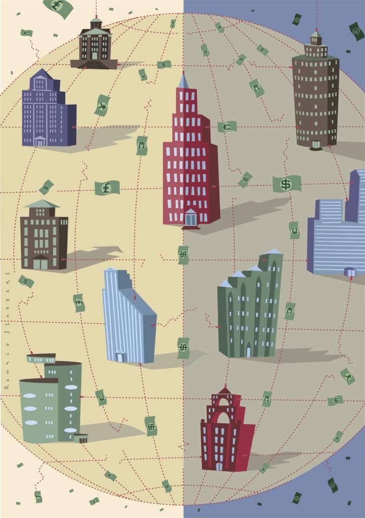 Illustratie van de voordelen voor internationale netwerken bij banken. Illustratie van bankgebouwen rond de globe, wereldbol