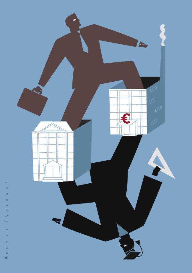 'Wetenschap, onderzoek en ontwikkeling' Redactionele illustraties over samenwerking tussen universiteiten en de zakenwereld. Een afgestudeerde stapt het zakenleven in