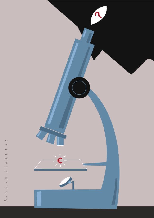 'Wetenschap, onderzoek en ontwikkeling' Redactionele illustraties over samenwerking tussen universiteiten en de zakenwereld. Iemand kijkt met een microscoop naar een euroteken