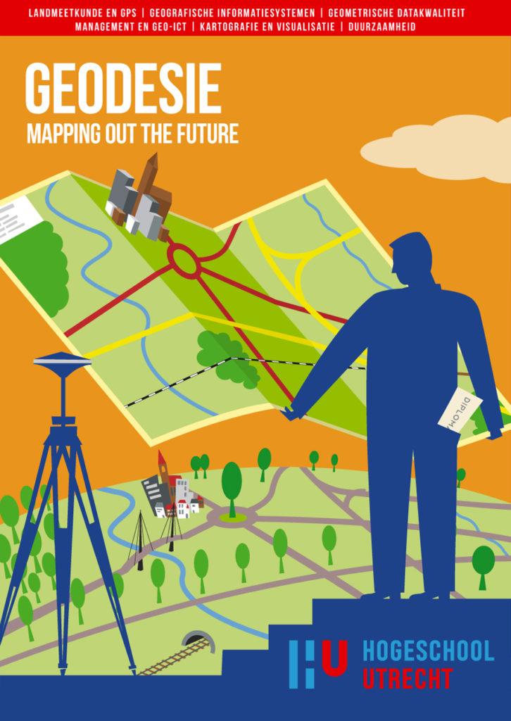 Poster ontwerp en illustraties t.b.v. verschillende bouw studies, bouw management studies, bouwtechnische bedrijfskunde en geodesie studie, HU, Hogeschool Utrecht